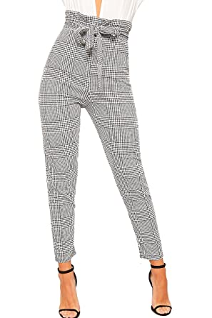 71a32944b48f WearAll Women's Houndstooth Check Print Paper Bag Ruffle Frill Belted  Ladies Trousers 6-14: Amazon.co.uk: Clothing