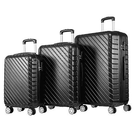 7d5d8bc36 Merax Set of 3 Light Weight Hardshell 4 Wheel Travel Trolley Suitcase  Luggage Set Holdall Case-20/24/28 inch (Black): Amazon.co.uk: Luggage