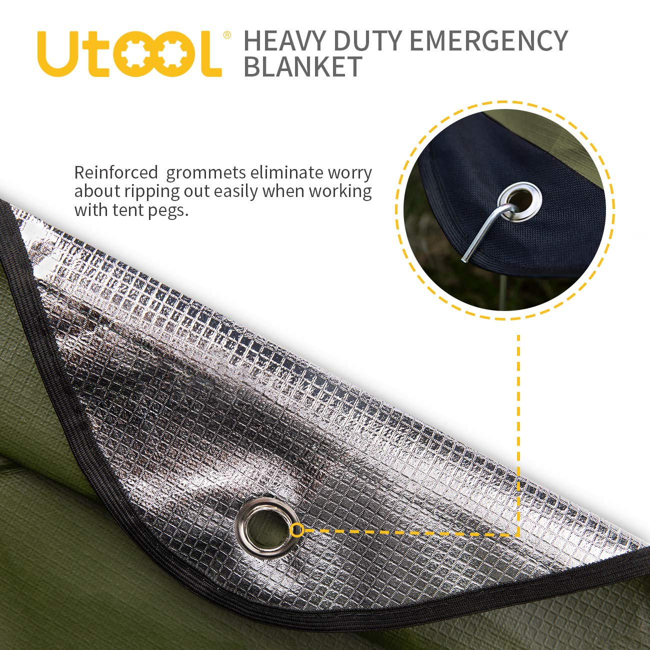 Extra Large Thermal Reflective Survival Outdoor Emergency Blanket with Water Proof Tear Resistant 93/% Heat Retention Reusable Features Utool Heavy Duty Emergency Blanket Survival Tarp