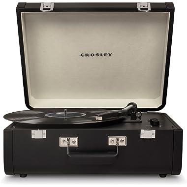 Crosley Portfolio Vintage 2-Speed Bluetooth Suitcase Turntable with Built-in Speakers, Black