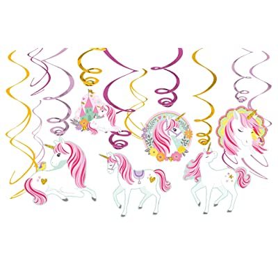 Amscan Magical Unicorn Value Pack Foil Swirl Decorations Party Supplies (9 Piece), Multi: Toys & Games