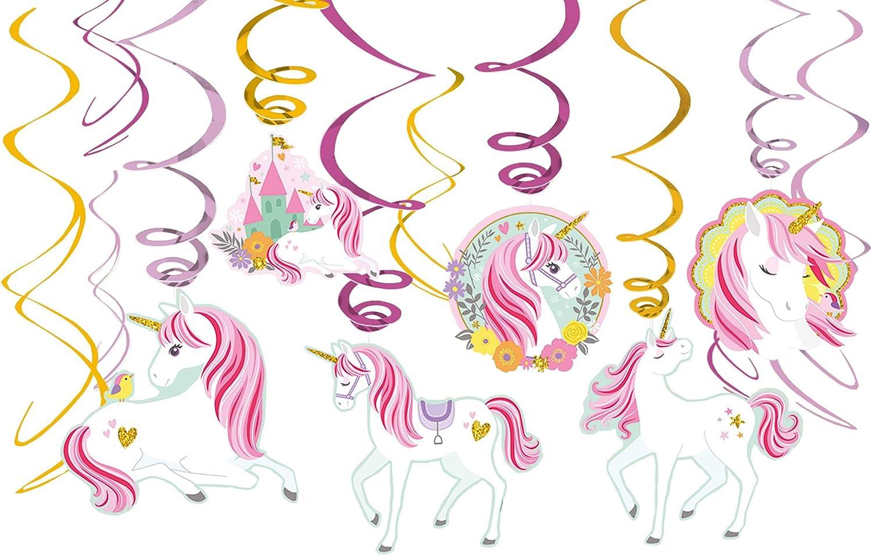amscan 671929 Magical Unicorn Value Pack Foil Swirl Decorations, Multi, Multi Sizes (10119858)