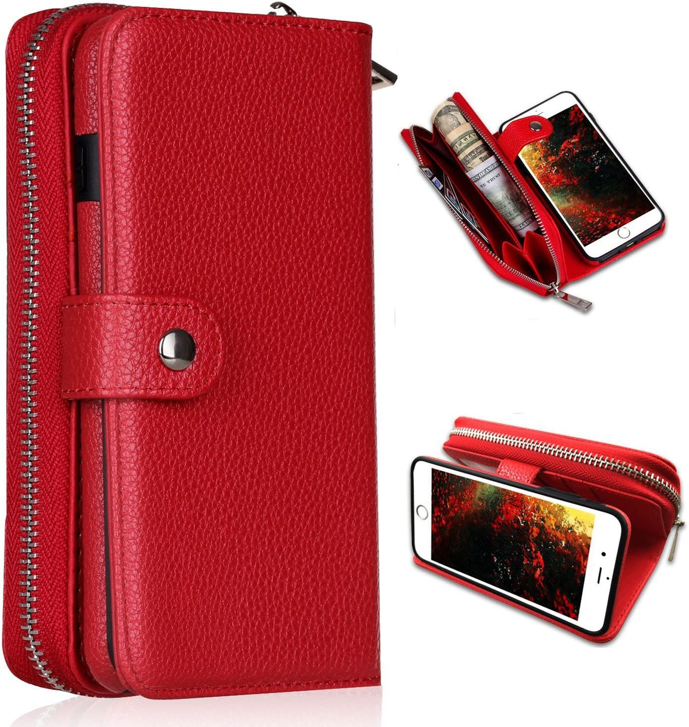 iPhone 6/6s Plus Wallet Case,YSJT Magnets Detachable Credit Card Slots with Zipper Classic Fashionable Cover Flip Premium PU Leather for iPhone 6/6s Plus 5.5 inch (Red)
