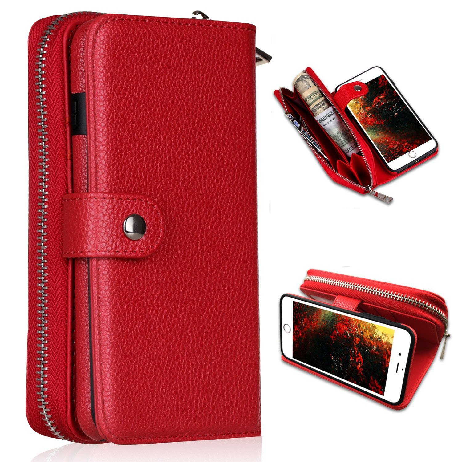 iPhone 6 Wallet Case,iPhone 6s Wallet Case,YSJT Magnets Detachable Women Zipper Cover Pu Leather Card Slots Card Holder Wallet Carrying Case for iPhone 6/6s 4.7'' (Red)