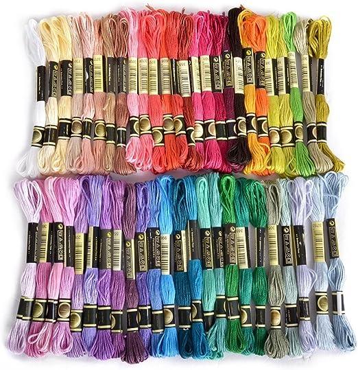Hilo de bordar, 100% algodón, 50 madejas de colores surtidos por ...