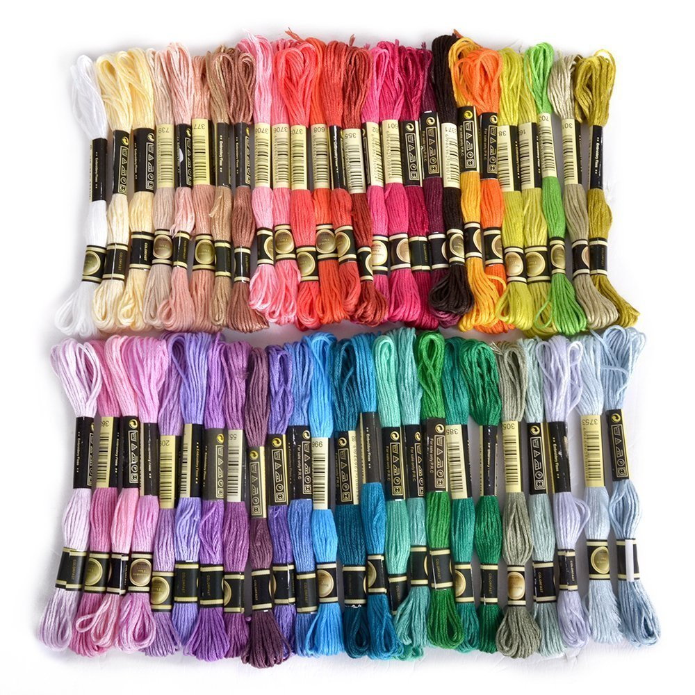 Zedtom 50 x Embroidery Cotton Thread Assorted Coloured Skeins Stitch Thread for Children