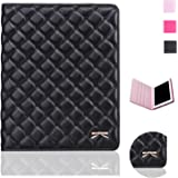 iPad Case,iPad 2 3 4 Case,Bestwo Embroidery Quilted Design PU Leather Smart Protective Stand Case Cover with Auto Sleep/Wake for Apple iPad 2/3/4-Black(9.7 Inch)