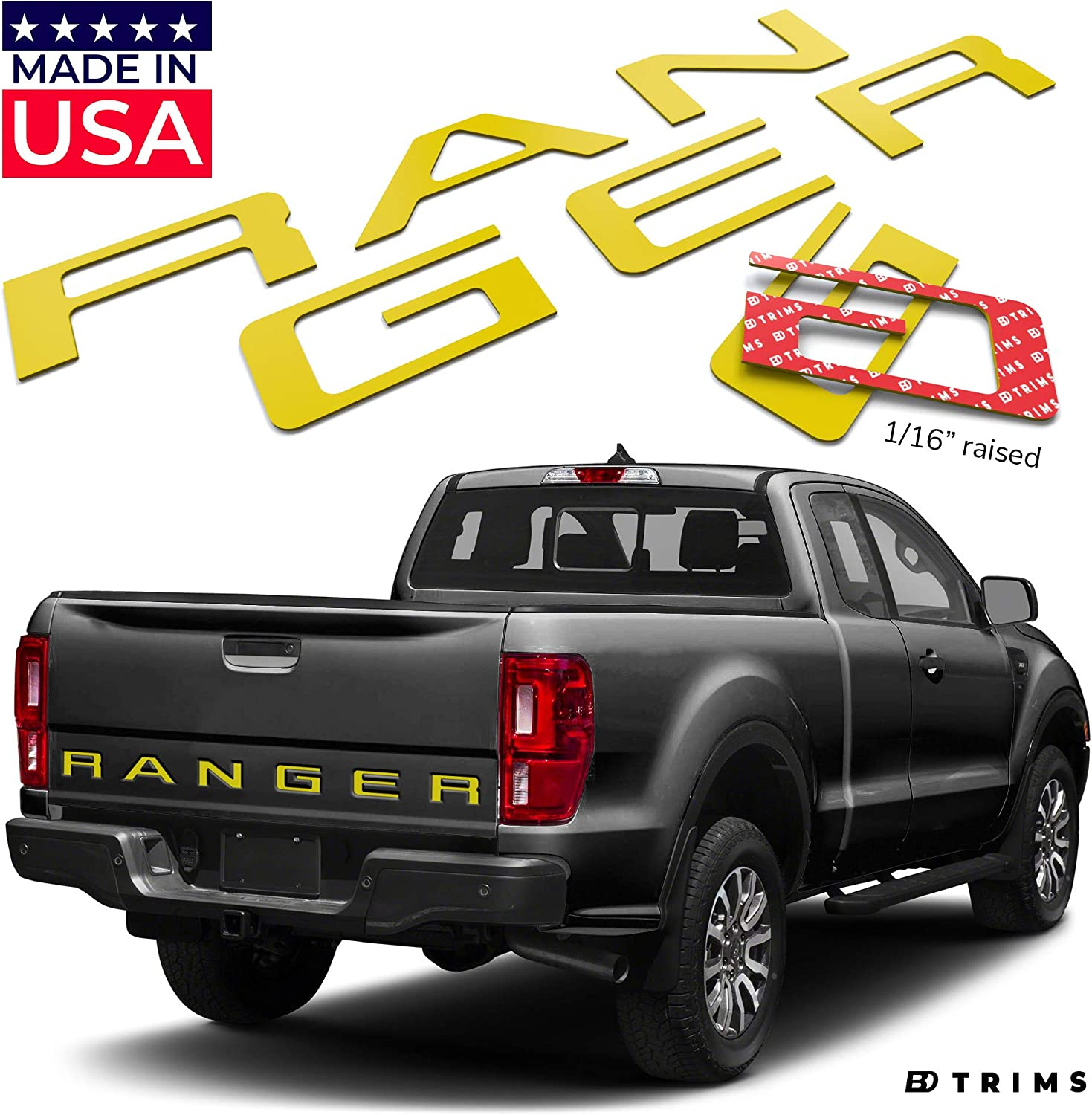 BDTrims Tailgate Raised Letters Compatible with 2019 2020 Ranger Models Red