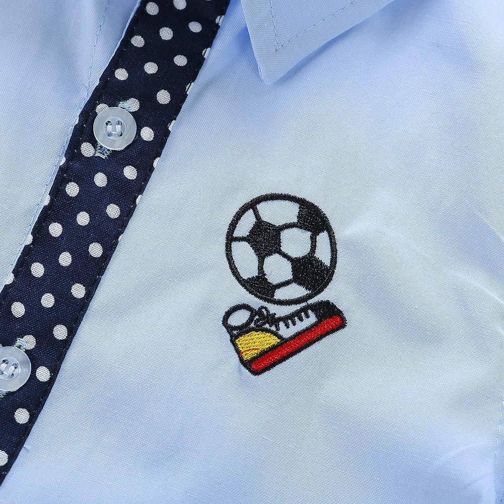 BOBORA Boy Kids Short Sleeve Soccer Ball Floral Polo Shirt Children Summer Cotton School Shirt Tee Tops for 3-10Years