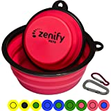 Zenify Dog Bowl Food & Water Feeder 2 Pack - Extra Large 1000ml 17.8cm & Small 400ml 12.7cm Collapsible Portable Foldable Travel Dish Leash Lead Slim Accessories for Puppy Dogs (Pink XL/Pink S)