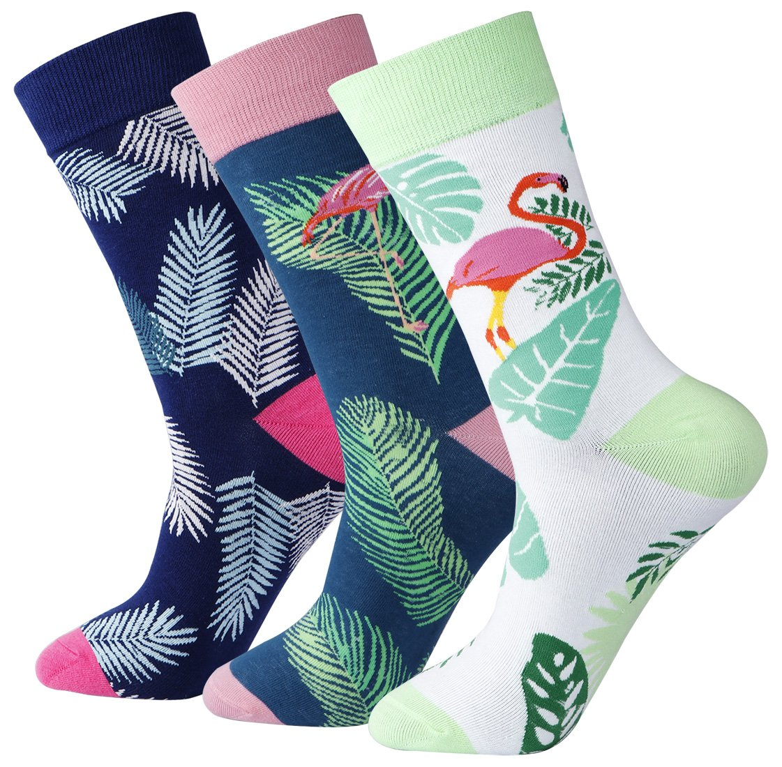 Dad's Fancy Flamingos Patterned Tropical Leaves Calf Dress Socks for Mens (Size 7-13)