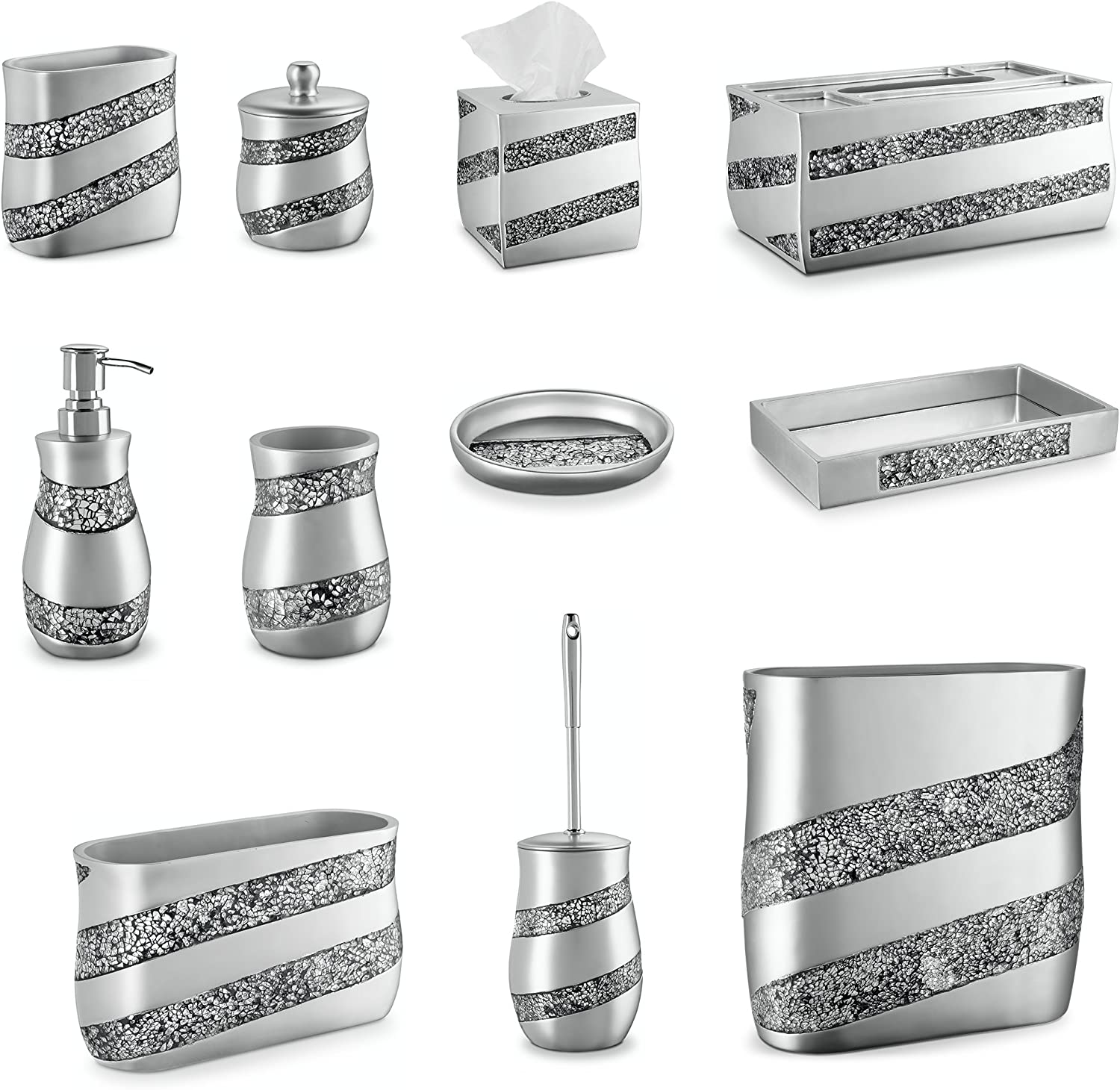 Home Treats Toilet Brush /& Holder Silver Mosaic
