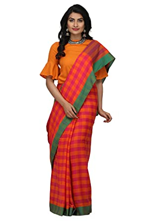 6c4712c23d The Weave Traveller Handloom Women's Hand Woven Soft Cotton Gamcha/Checkered  Saree With Attached Blouse