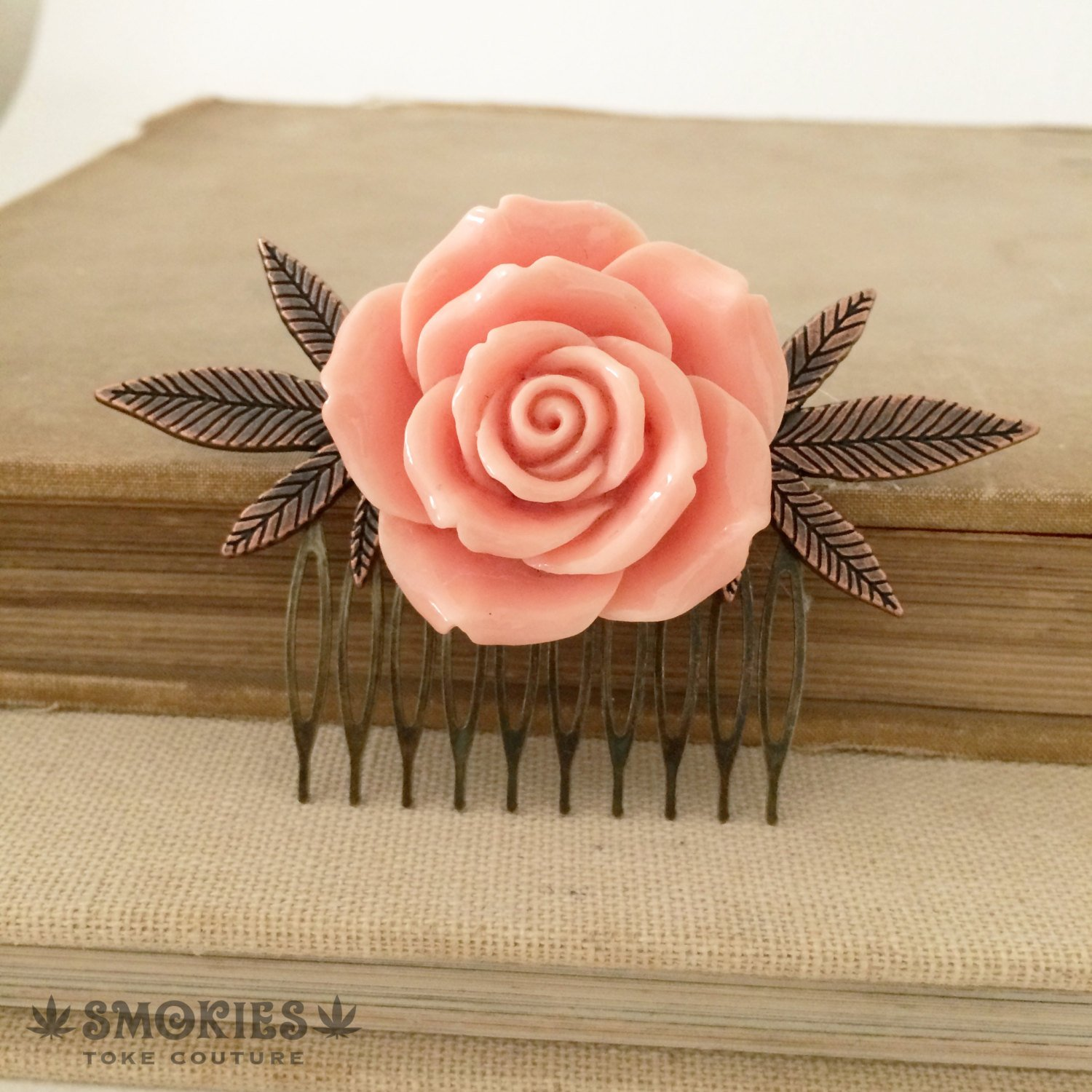 weed gift, stoner gift, weed accessories, girly, hair clip, Marijuana hair accessories,rose comb cannabis accessory CORAL COPPER