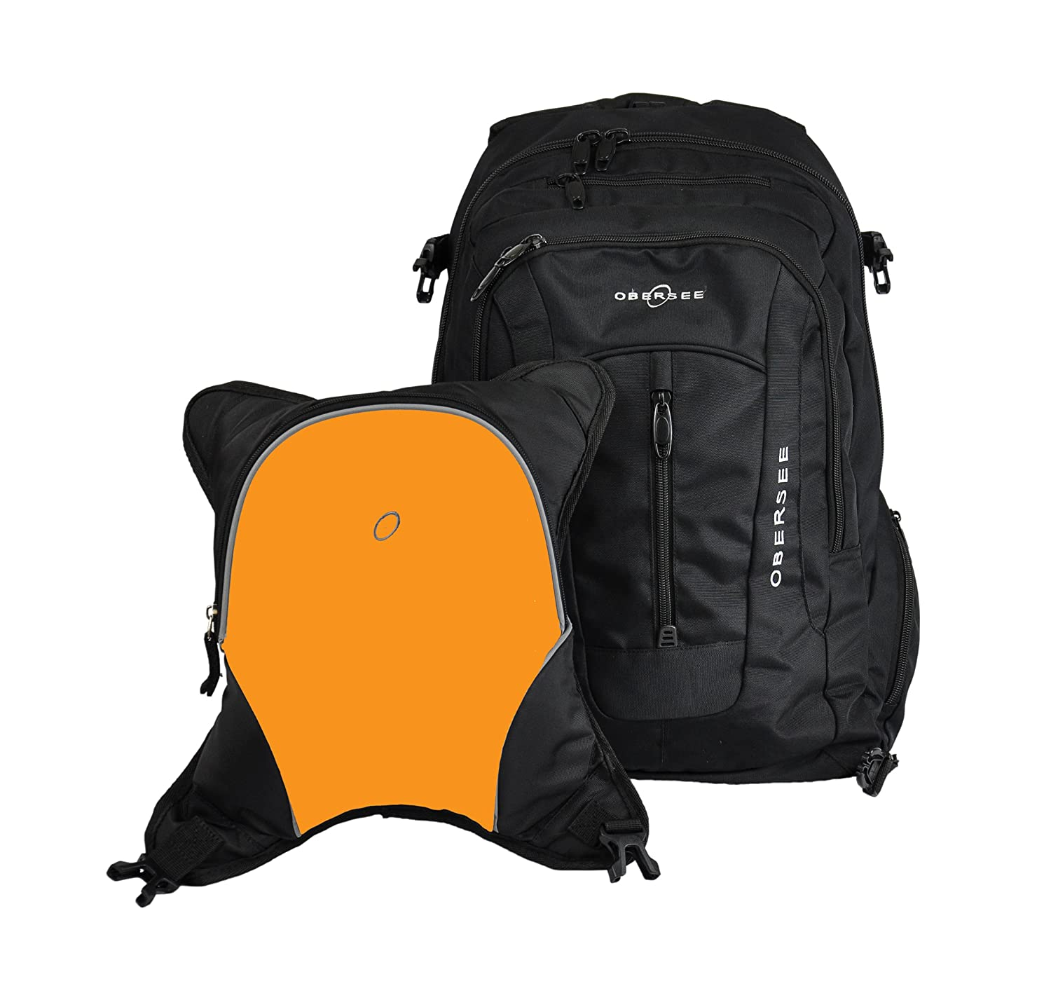 Bern Diaper Backpack, Shoulder Baby Bag, With Food Cooler, Clip to Stroller (Black/Orange)