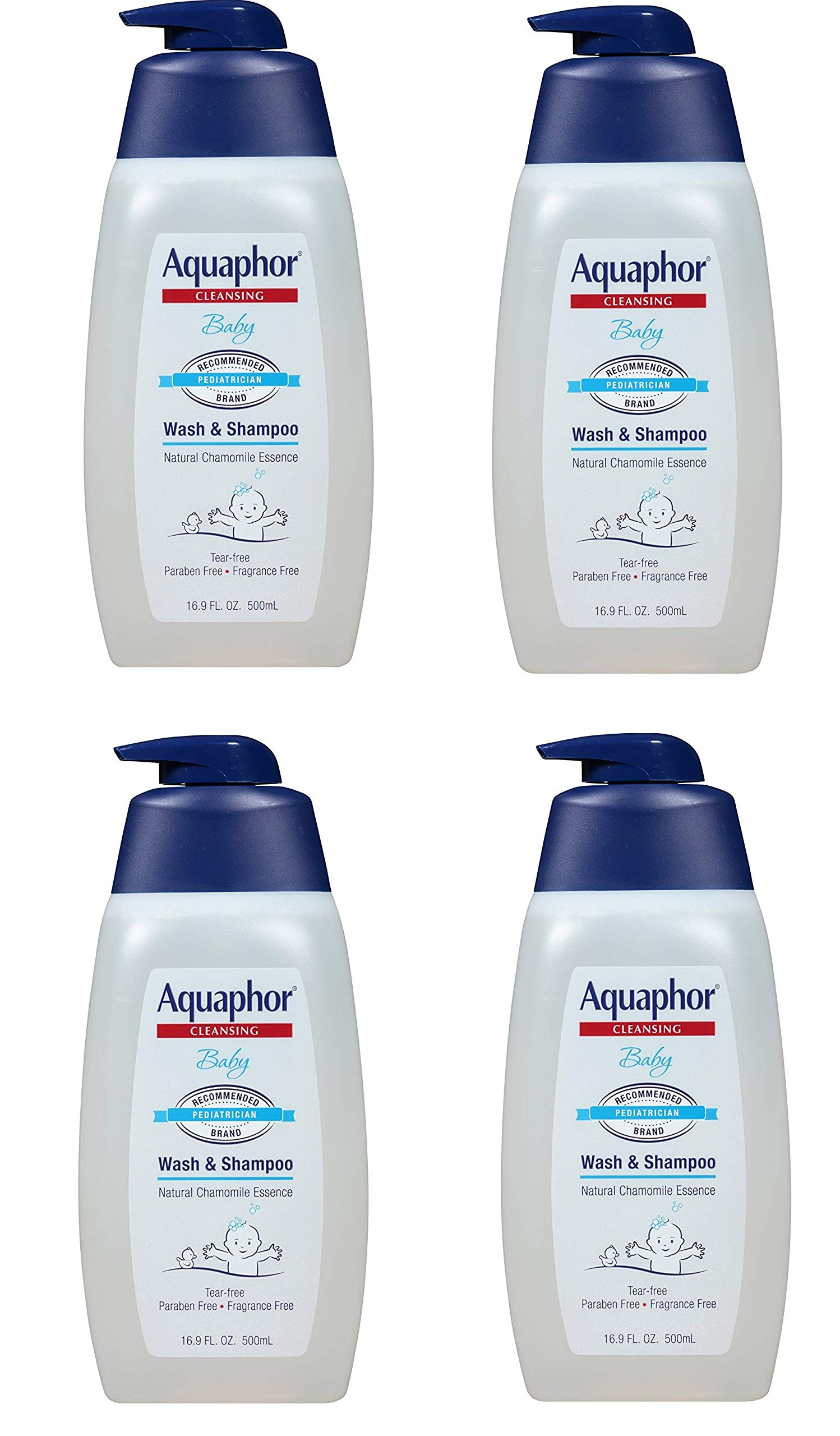 Aquaphor Baby Wash and Shampoo - Mild, Tear-free 2-in-1 Solution for Babyâ€s Sensitive Skin - 16.9 fl. oz. Pump, 4 Pack by Aquaphor