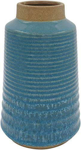 Amazon Brand Stone Beam Modern Stoneware Vase, 10.51 H, Blue and Sand