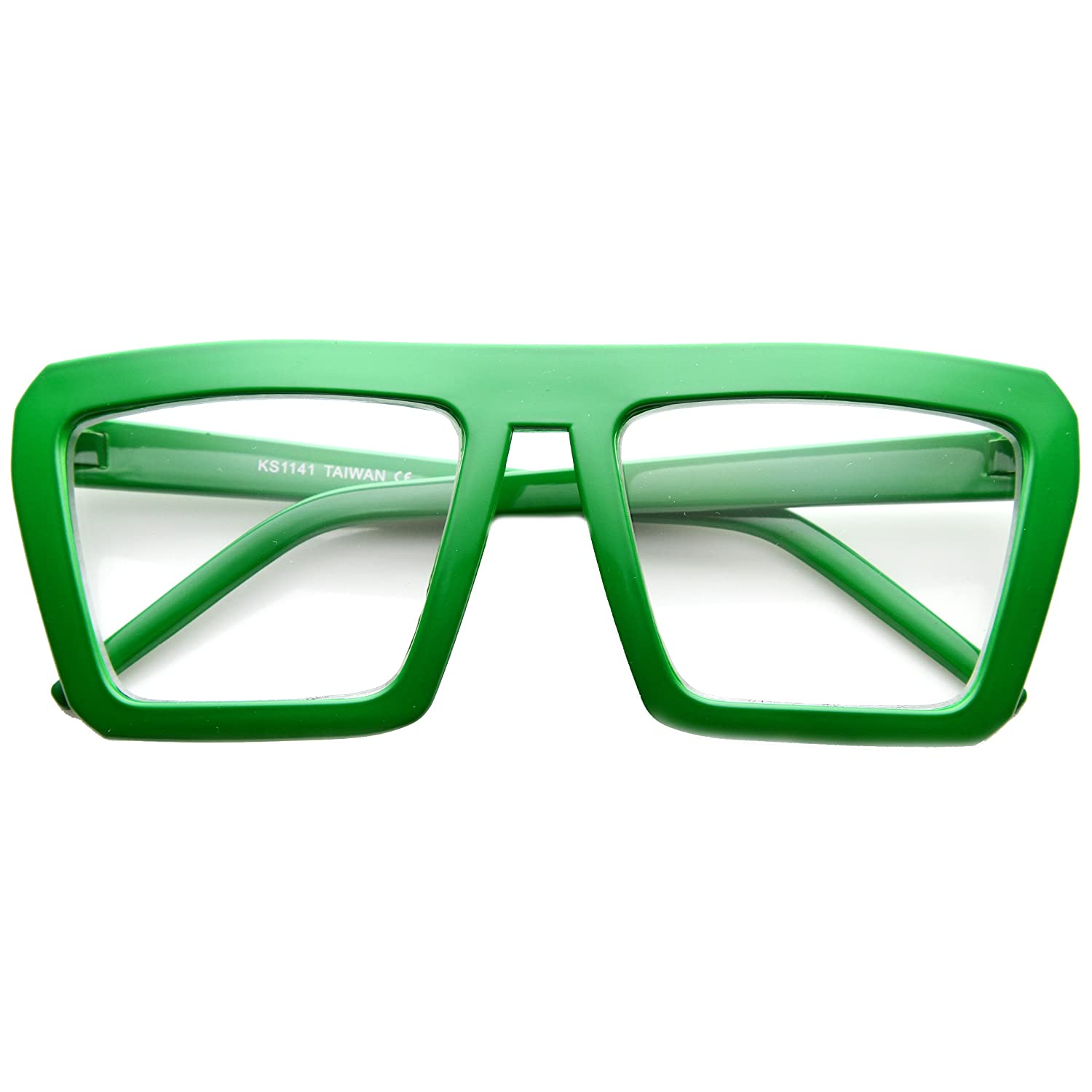 Green Fashion Frame Flat Top Blaster Frame Horn Rimmed Style Eyewear Clear Lens Glasses