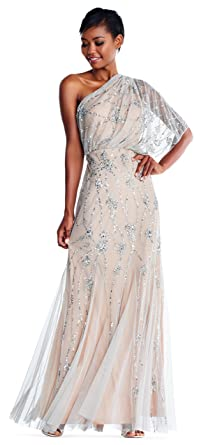 c5c9856eb8b Adrianna Papell Silver Nude One Shoulder Beaded Gown Formal Dress at ...