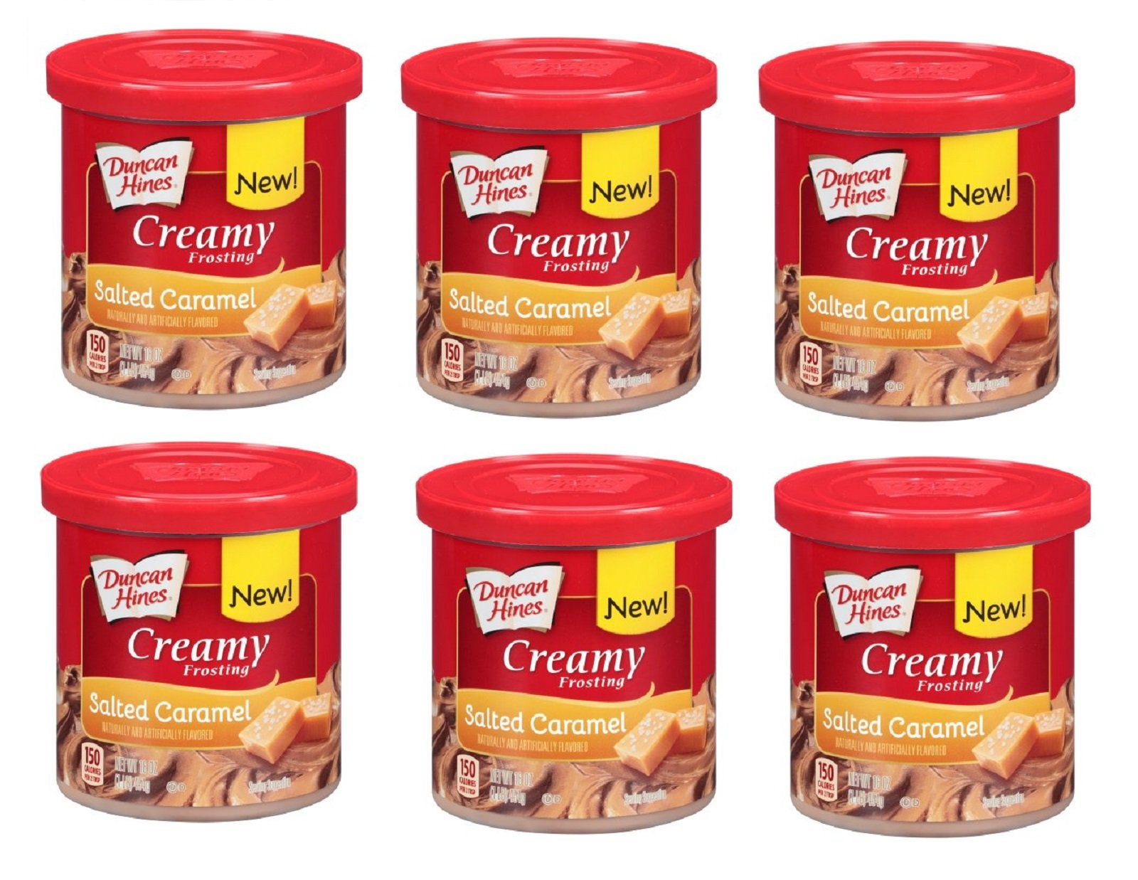 Duncan Hines Creamy Frosting goes on Smooth and Velvety 16 Oz. Salted Caramel (Pack of 6)
