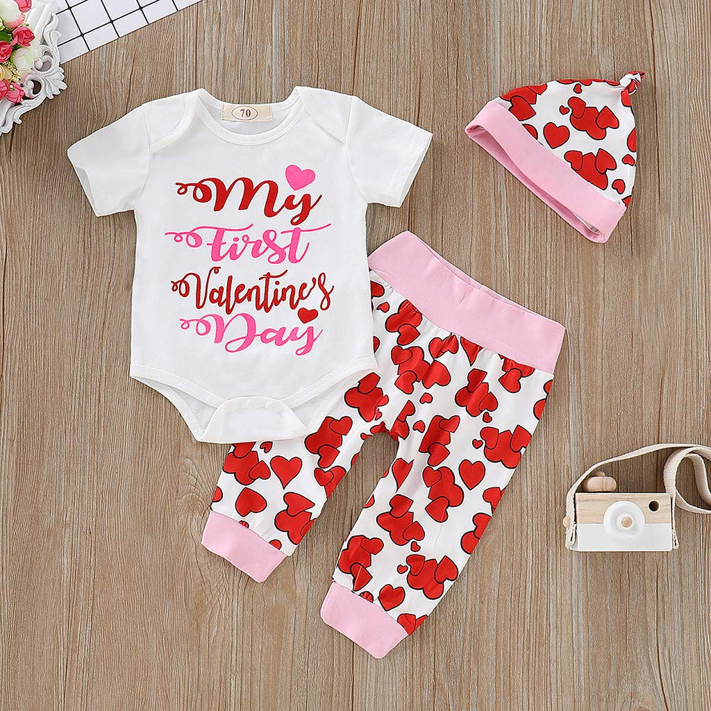 KONFA Romper+Trousers+Hat+Bowknot Headband 4Pcs Outfits Toddler Kids Newborn Baby Girls First Valentines Day Clothes