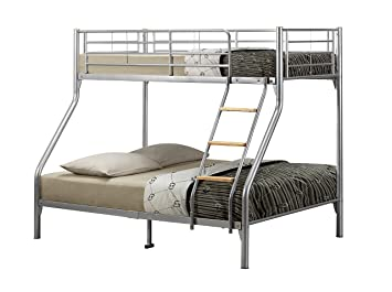 Birlea Nexus Triple Sleeper Bunk Bed Metal Silver Amazon Co Uk