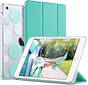 iPad Mini 3 Case,iPad Mini 2 Case,iPad Mini Case,ULAK Slim Bumper Smart Case Stand for Apple iPad Mini 1/2/3 Colorful Clear Back Cover Lightweight with Auto Sleep/Wake Function, Mint Green