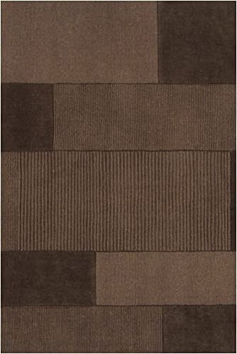 Surya Bristol BRT-2926 Transitional Hand Loomed 100 Wool Coffee Bean 5 x 8 Patchwork Area Rug