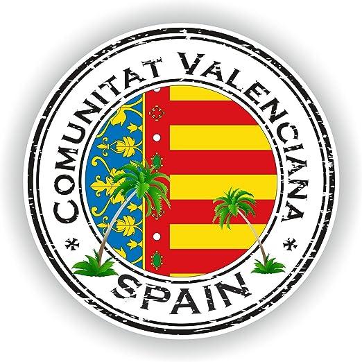 Tiukiu España Comunitat Valenciana Sello Adhesivo Redondo Bandera para portátil Libro Nevera Guitarra Casco Moto Caja de Herramientas Puerta PC Barco: Amazon.es: Hogar