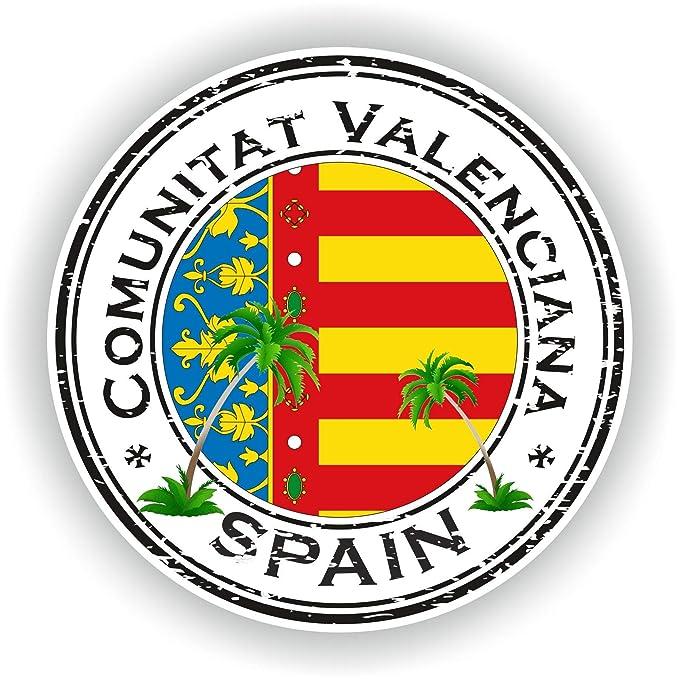 Tiukiu España Comunitat Valenciana Sello Adhesivo Redondo Bandera ...