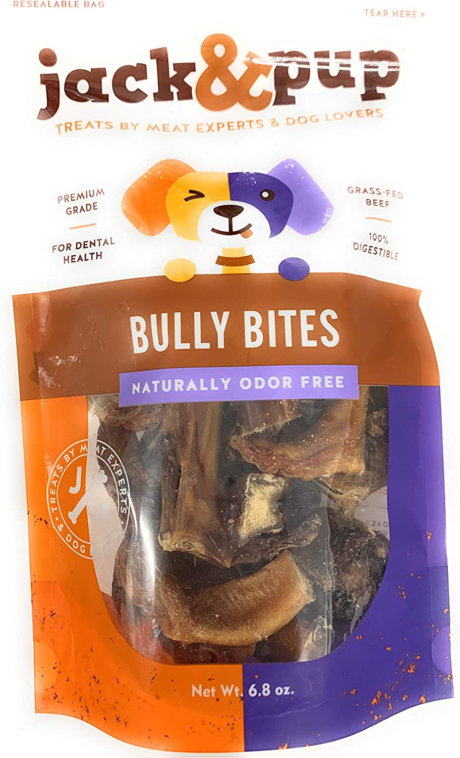 """Extra-Thick 6/"""" Long All Natural Gourmet Dog Treat Chews Fresh and Savory Beef Flavor 30/% Longer Lasting , Jack/&Pup 6-inch Premium Grade Odor Free Bully Sticks Dog Treats"""