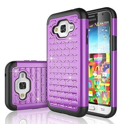 new products 28290 24a4d J3 Case, J3 V Case, Express Prime Case, Amp Prime Case, Tekcoo® [Tstar  Series] [Purple] Studded Rhinestone Crystal Bling Rubber Defender Plastic  ...