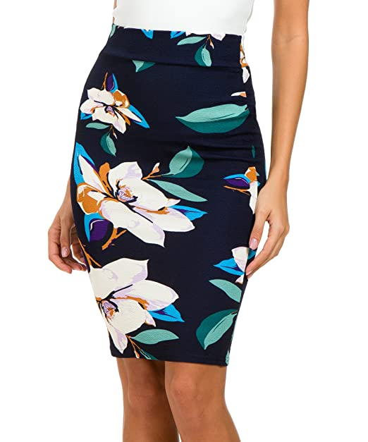 d7d4b42cf95 Urban CoCo Women s High Waist Stretch Bodycon Pencil Skirt at Amazon ...