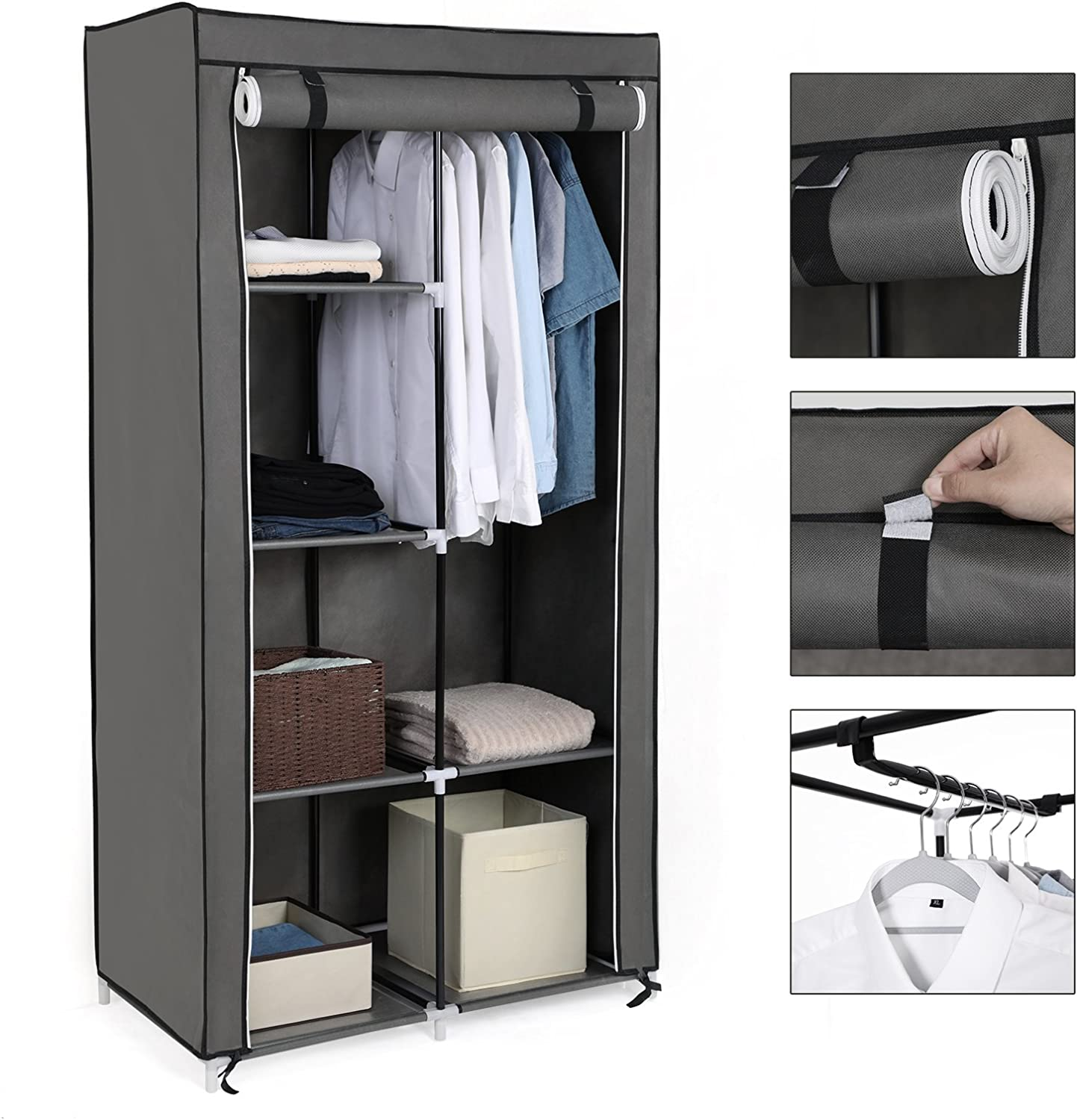Grey RYG84G SONGMICS Double Canvas Wardrobe with 2 Hanging Rail W x D x H holds up to 25kg Clothes Storage Organiser 7 different assembly Methods for Bedroom 88 x 45 x 170 cm