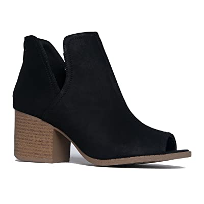 J. Adams Tabs Western Boots - Cut Out Peep Toe Stacked Low Heel Ankle Bootie   Ankle & Bootie