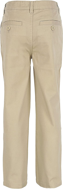 Bienzoe Boys School Uniforms Flat Front Cotton Twill Adjust Waist Pants