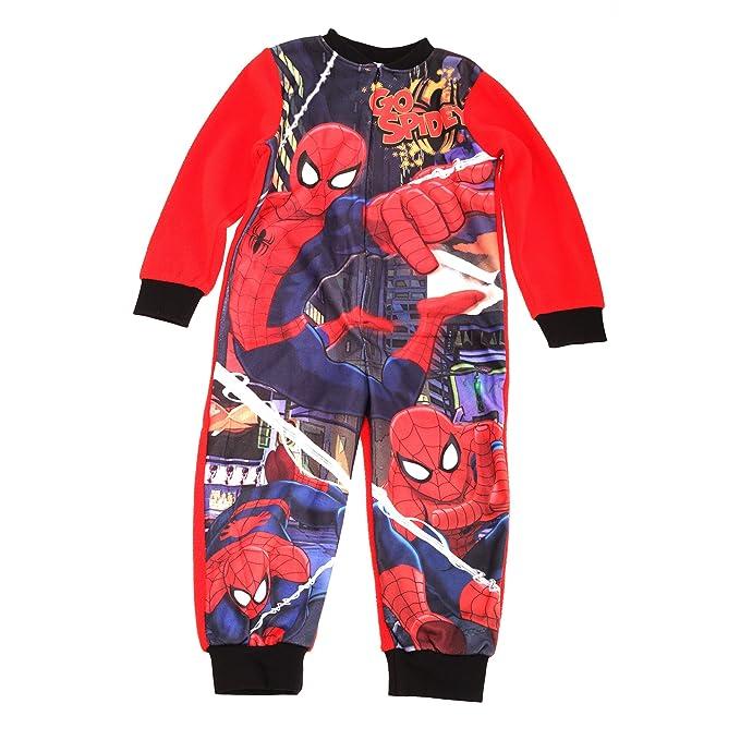 Marvel - Pijama entero polar con cremallera de Spiderman para niños (3-4 Años