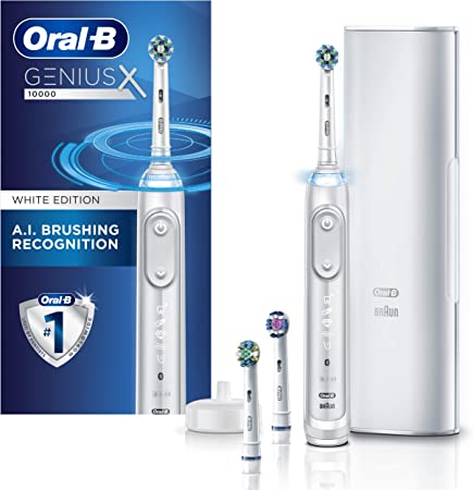 Oral B Genius X Electric Toothbrush With 3 Oral B Replacement Brush Heads Toothbrush Case White 1 Count Packaging May Vary Beauty