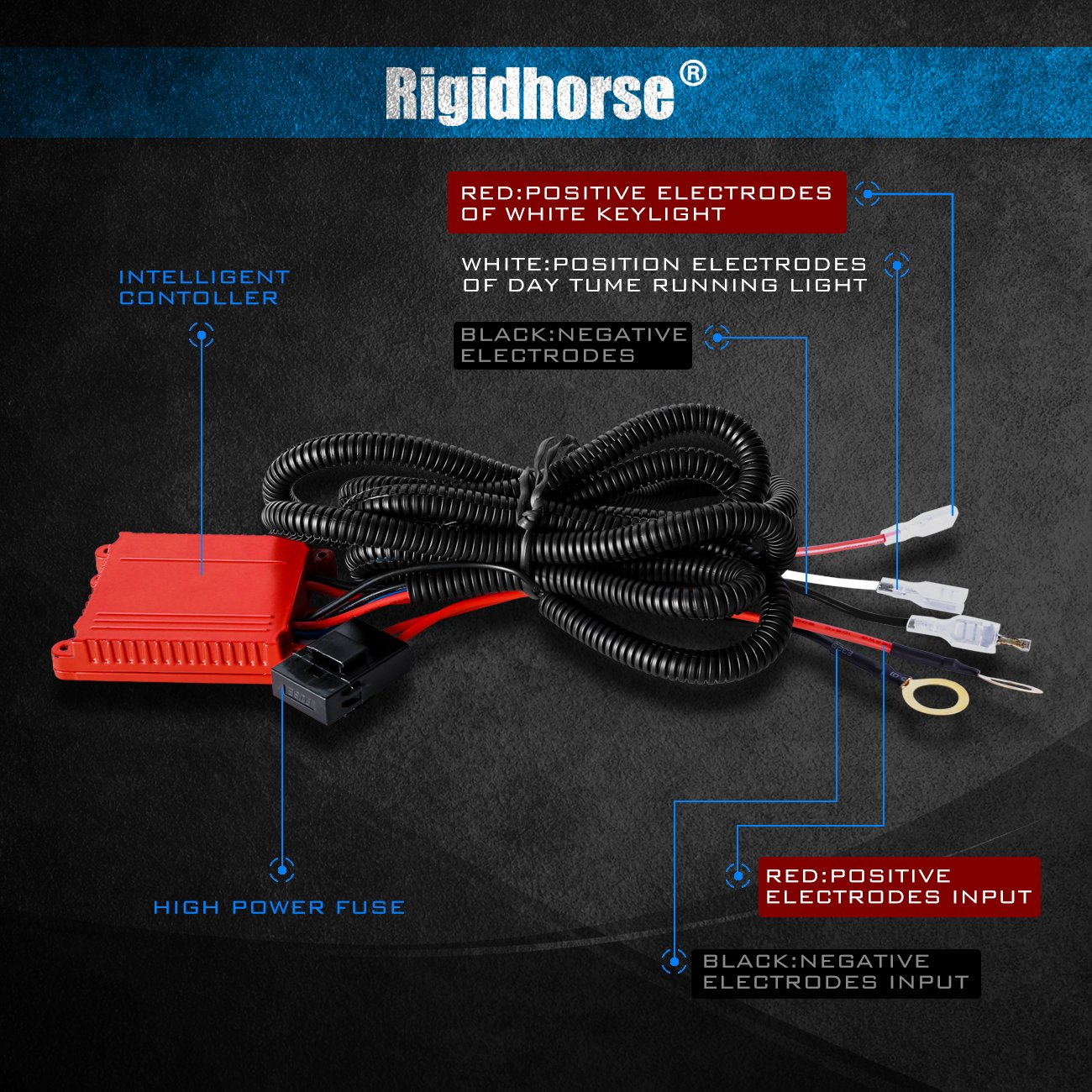 Wiring Harness Rigidhorse Remote Control Nash Travel Trailer Diagrams Kit For 8d Dual Mode Led Light Bar Universal Fitment Accessories Automotive