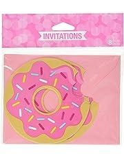 "Creative Converting 324231 Donut Party Invitations, 4.5"" Dia, Multicolor, 8ct"