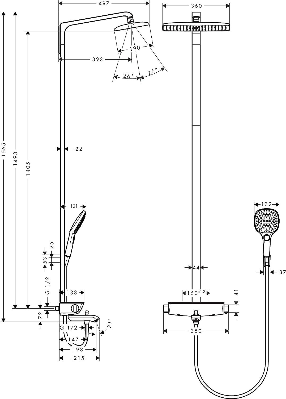 Hansgrohe 27113000 Raindance Select E 360 columna de ducha para ...