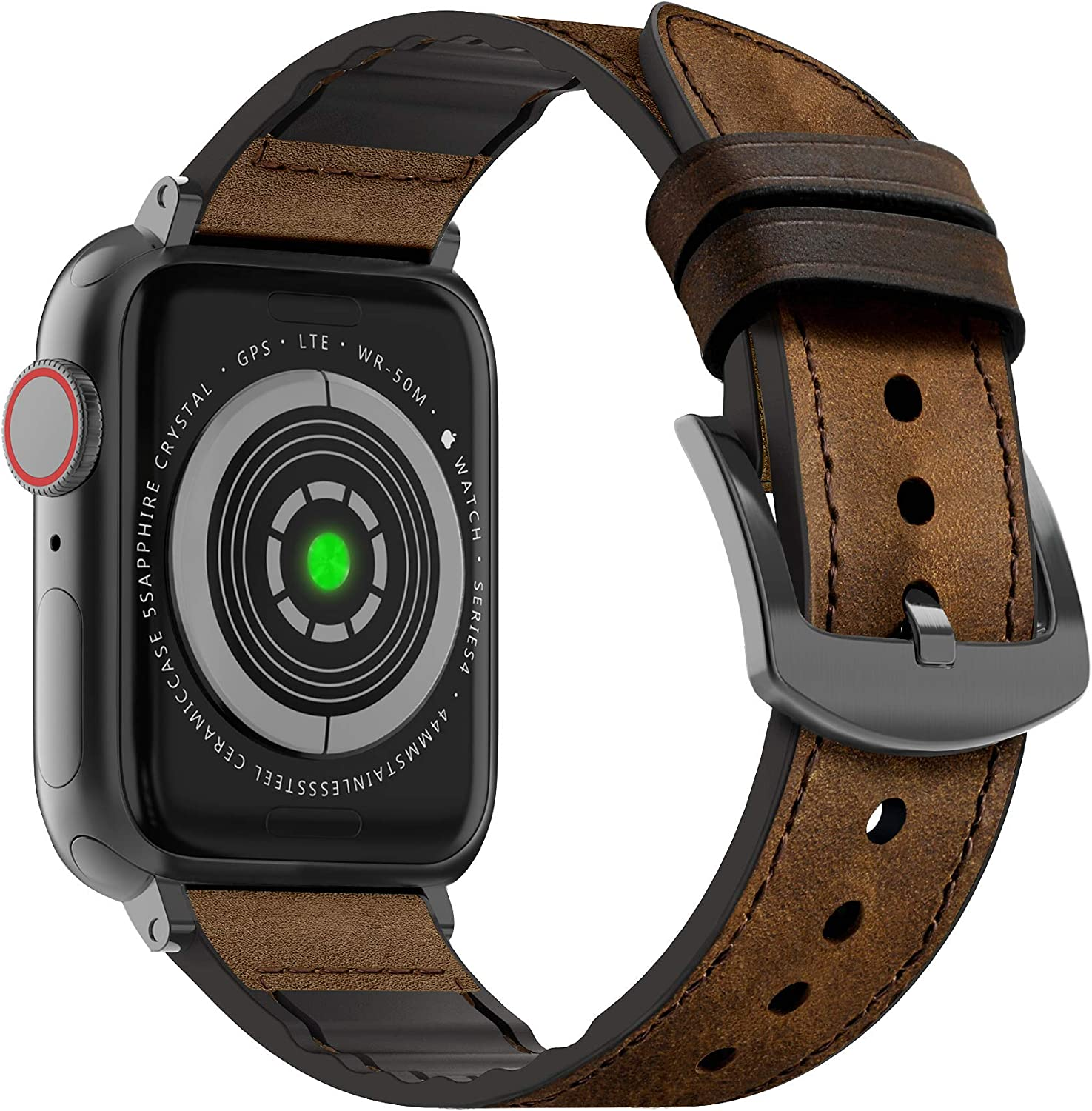 MARGE PLUS Compatible Apple Watch Band 40mm 38mm, Sweatproof Hybrid Genuine Leather and Silicone Sports Watch Band Replacement for iWatch SE Series 6 5 4 3 2 1, Coffee Brown/Space Gray