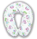 XXL Bezug für Stillkissen Baby Lagerungskissen Lang Seitenschläferkissen 170 cm weiß - Eule blau/rosa E2