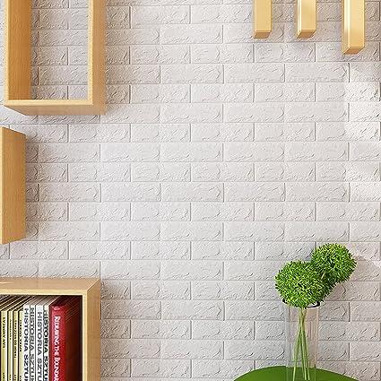 KINLO 3D Carta da Parati Autoadesiva Mattoni 77 * 70 * 1CM DIY Wallpaper  Brick Adesivi più Wall Stickers Impermeabile Decorazione da Muro per Cucina  ...