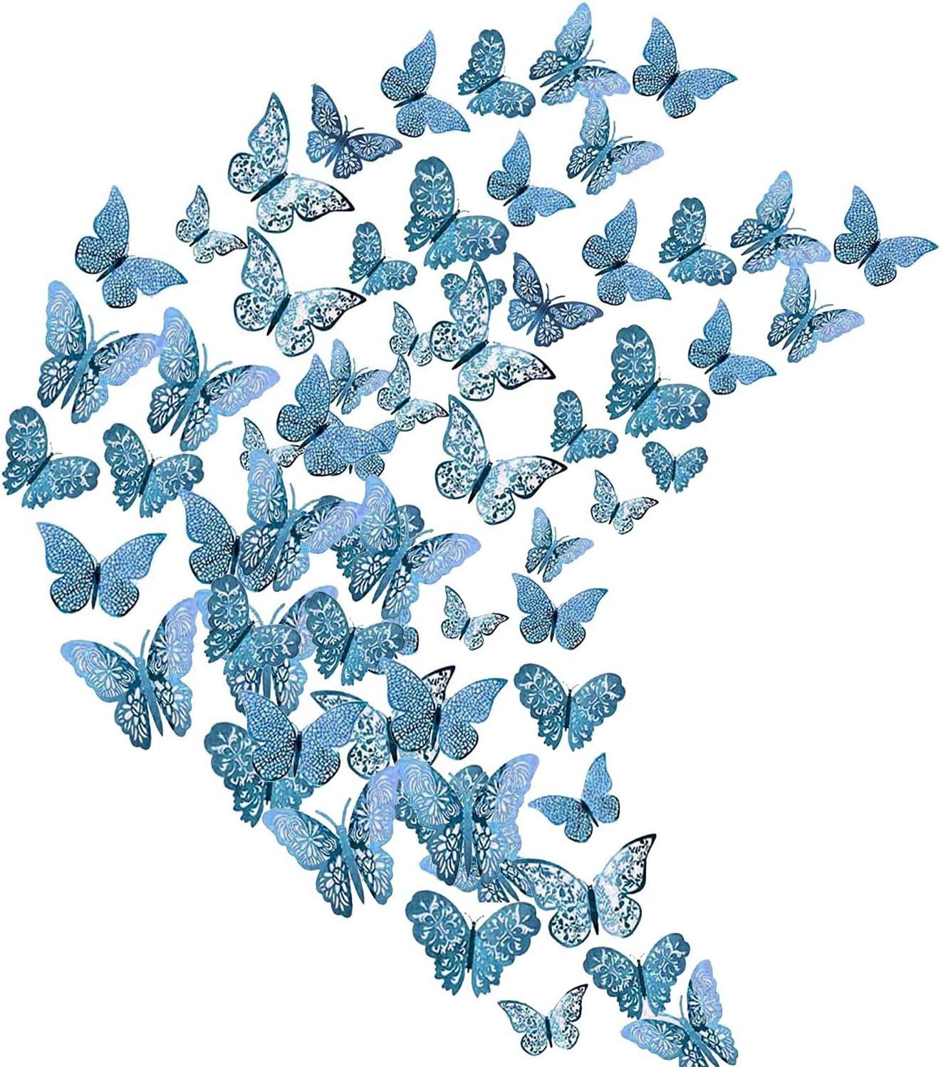Flymind 144Pcs Butterfly Decor Stickers, 3D Wall Decals Metallic Art Decorations Sticker 3 Sizes for Home Living Room Babys Classroom Offices Girl Boy Bedroom Showcase Nursery Wall Art Décor(Blue)