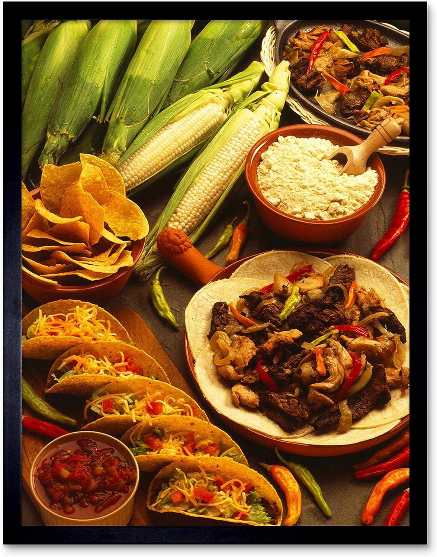 Wee Blue Coo Photo Mexico Corn Tortilla Taco Food Art Print Framed Poster Wall Decor 12x16 inch