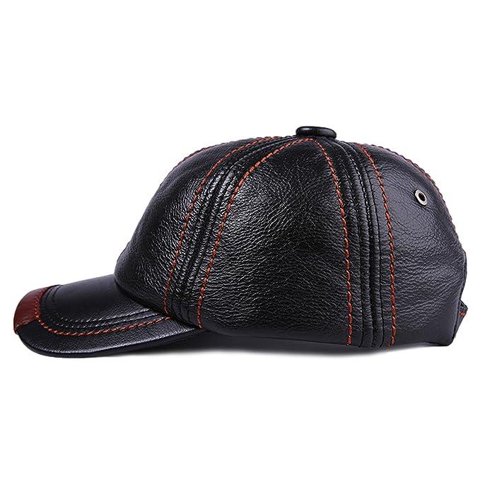 24d324fe bestfur Men Genuine Cowhide Leather Hat Warm Outdoor Casual ...
