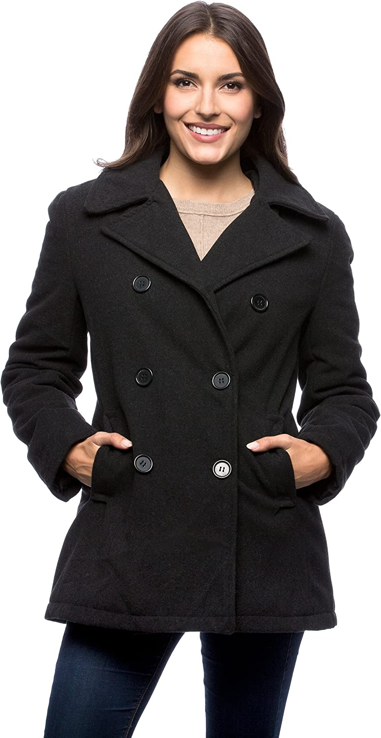 goldenharvest GH Mens Notched Lapel Single Breasted Woolen Thick Winter Pea Coat Jacket