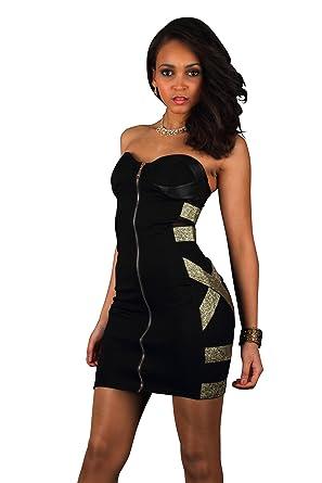 9eeb9e99720 Fashion4Young 5512 Damen Minikleid Bandeau-Stil Kleid Party dress in  Schwarz verfügbar in 2 Größen