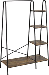 Finnhomy Metal Clothes Garment Rack with 4-Tier Wood Storage Shelves Heavy Duty Accent Furniture for Hanging Clothes/Folding Clothes/ Shoes/ Decors, Freestanding Closet Organizer for Bedroom/ Entryway / Boutiques, Matte Black